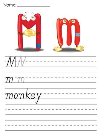 Illustrated alphabet worksheet of the letter m Stock Vector - 13892271