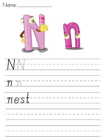 Illustrated alphabet worksheet of the letter n Vector
