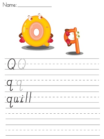 Illustrated alphabet worksheet of the letter q Vector