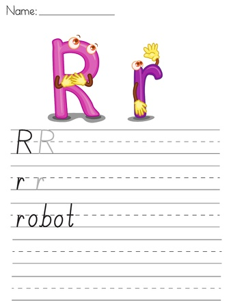 Illustrated alphabet worksheet of the letter r Stock Vector - 13892230