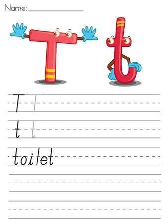 Illustrated alphabet worksheet of the letter t Vector