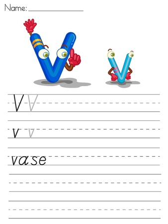 Illustrated alphabet worksheet of the letter v Vector