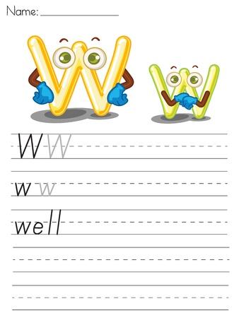 Illustrated alphabet worksheet of the letter w Vector