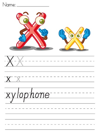 xylophone: Illustrated alphabet worksheet of the letter x
