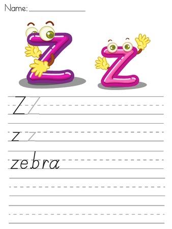 Illustrated alphabet worksheet of the letter z Vector