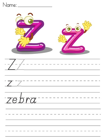 spacing: Illustrated alphabet worksheet of the letter z Illustration