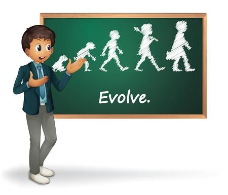 human evolution: Illustration of a business man presenting evolution