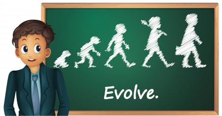 evolve: Illustration of a business man presenting evolution