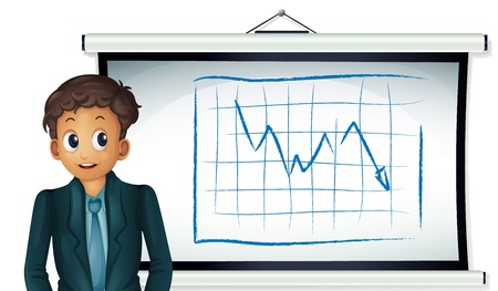 Illustration of a business man presenting a chart Stock Vector - 13892656