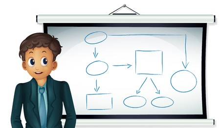 Illustration of a business man presenting a chart Vector