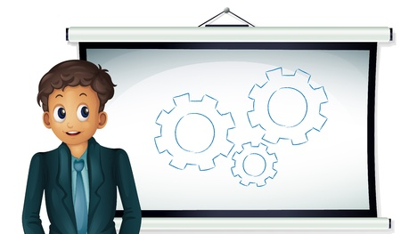 Illustration of a business man presenting cogs Vector
