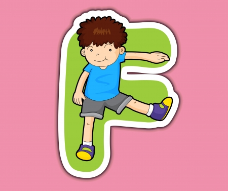 alphabet letter a: Illustrated alphabet letter series with kids