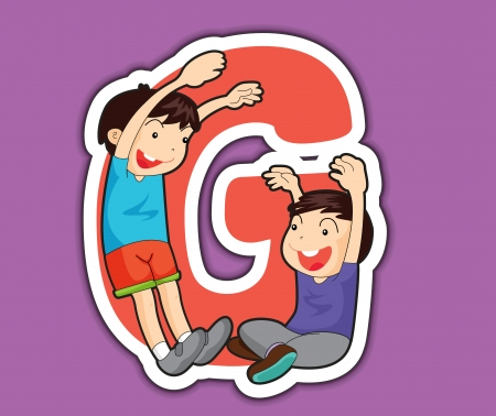 learner: Illustrated alphabet letter series with kids