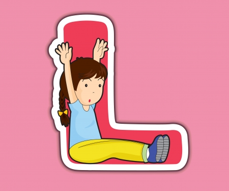 Illustrated alphabet letter series with kids Vector