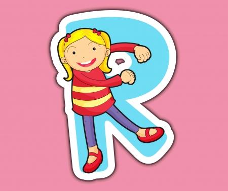 alphabet: Illustriert Alphabetbuchstabe Serie mit Kindern Illustration