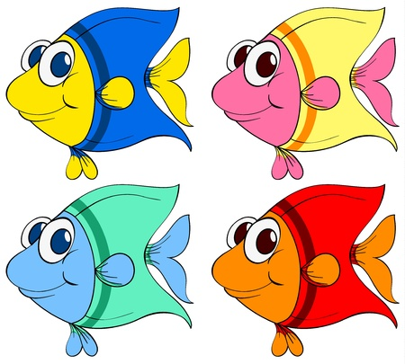 aquatic: Illustration of a set of fish