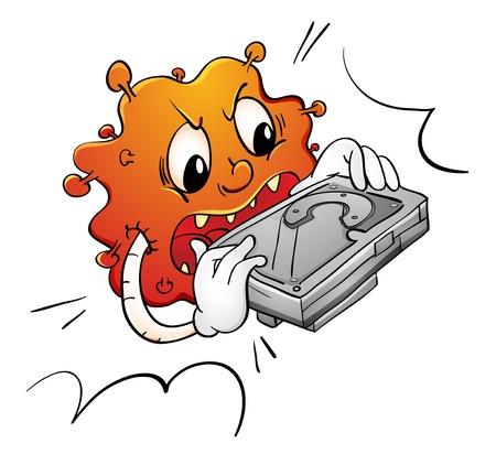 destroying: Illustration of a virus destroying a hard disk Illustration
