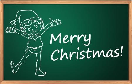 Merry christmas written in chalk on blackboard Vector