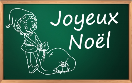 Merry christmas written in chalk on blackboard Vector