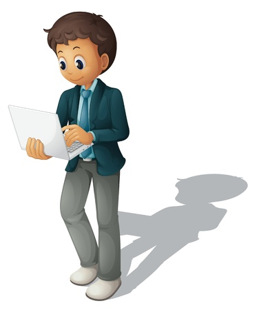 watching 3d: Illustration of a business guy using a computer