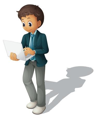 Illustrazione di un uomo d'affari utilizzando un computer Vettoriali