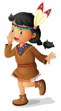 niños actuando: Ilustración de América del Norte niña india Vectores