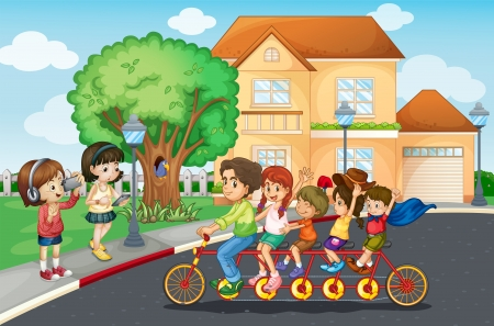 tandem: Illustration of a family riding a bicycle