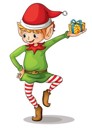 Ilustración de un duende de Navidad