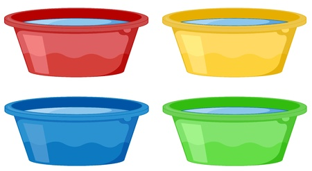 Illustration of 4 tubs on white
