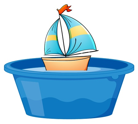 toy boat: Illustration of a boat in a tub