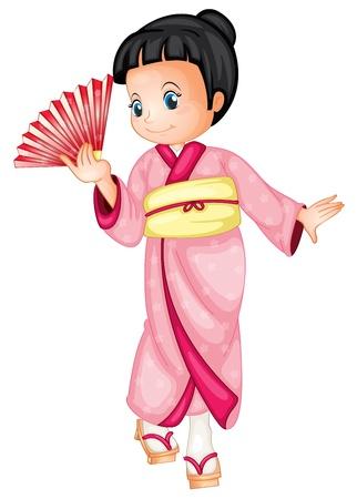 chinese fan: Illustration of a japanese geisha Illustration