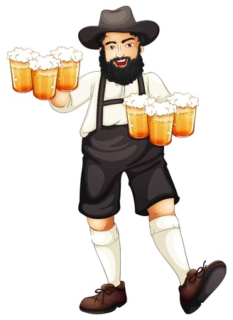Illustration of a Bavarian man at oktoberfest Illustration