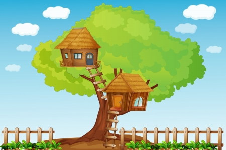 playhouse: Illustration of a small tree house
