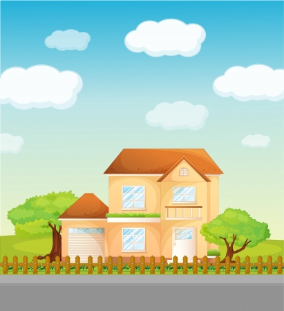 fine weather: Illustration of a suburban house
