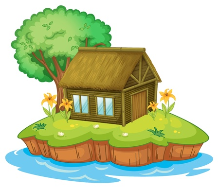 Illustration of a hut on an island