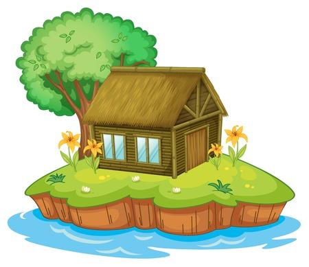 elvonult: Illusztráció egy kunyhóban egy szigeten