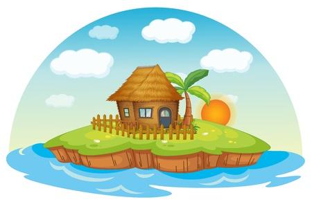Ilustración de una cabaña en una isla