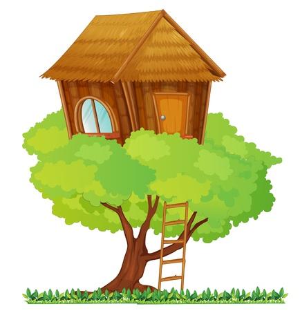 Ilustración de una casa en un árbol pequeño