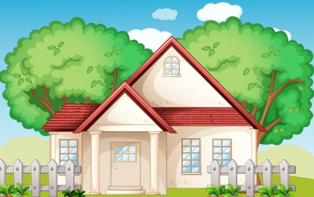 suburban house: Illustration of a suburban house
