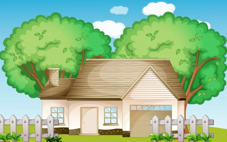 picket fence: Illustration of a suburban house