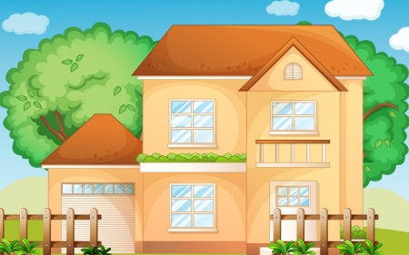 Illustration of a suburban house Stock Vector - 13930822