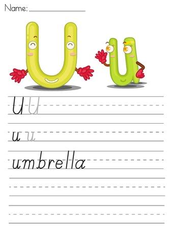 Illustration of alphabet series worksheet - letter U