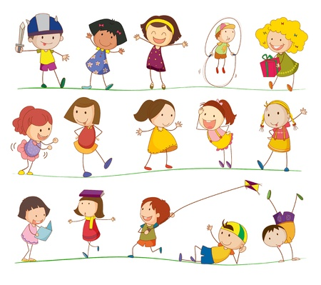 child sport: Illustration of collection of simple kids