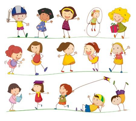 ni�o dibujo animado: Ilustraci�n de la colecci�n de ni�os de simples