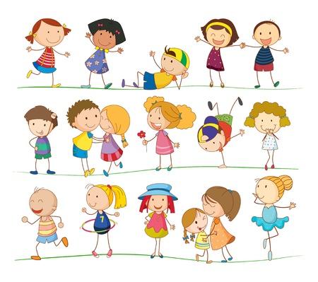 Ilustración de la colección de niños de simples