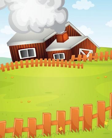 incendio casa: Ilustración de una escena de la granja Vectores