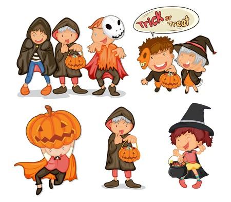 treats: Ilustración de los objetos de Halloween