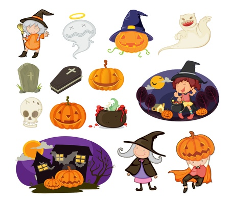 haloween: Illustration of halloween objects