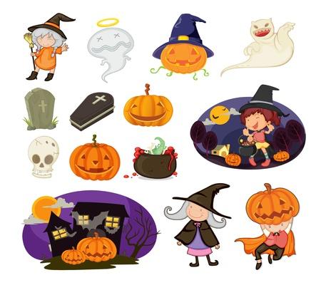 haloween: Ilustraci�n de los objetos de Halloween
