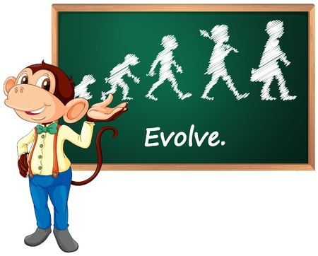 evolve: Illustration of a monkey presenting
